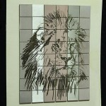 Laser engraved lion on stainless steel